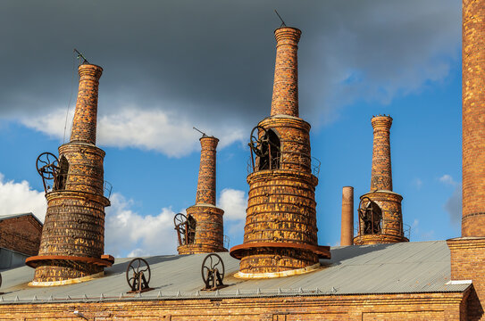 Chimneys from the factory in Forsbacka Sweden.The iron has been and still is important for Gästrikland. Iron has been manufactured here for at least 200 years