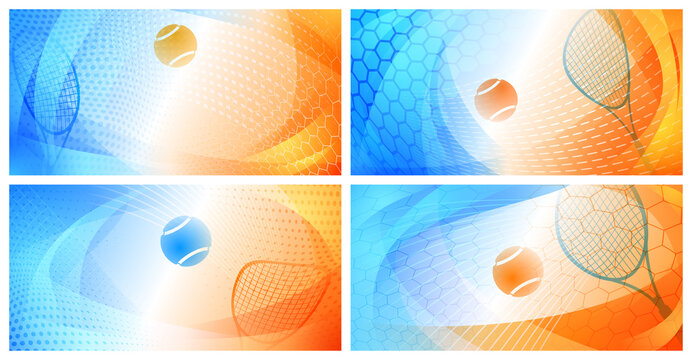 Set of four abstract backgrounds with ball and racket in colors of Grand Slam tournament Australian Open Tennis Championships