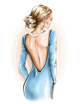 Fashion woman back view. Beautiful girl in dress. Girl in necklace. Fashion illustration.