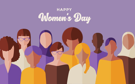 flat vector of women of different ethnicities, celebrating international women's day, freedom and equality concept.