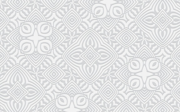 3d geometric convex pattern in Indian doodling style. Ethnic creative oriental white background texture for design and decoration.