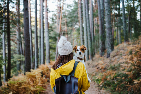 Woman carrying dog in forest