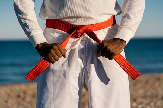 Mid section of male martial artist wearing red obi belt