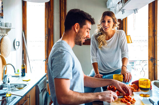Adorable couple at kitchen