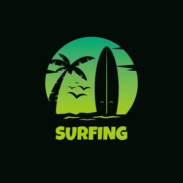 Logo dark surfing flat vector template