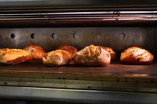 Fresh baked breads in oven at commercial kitchen