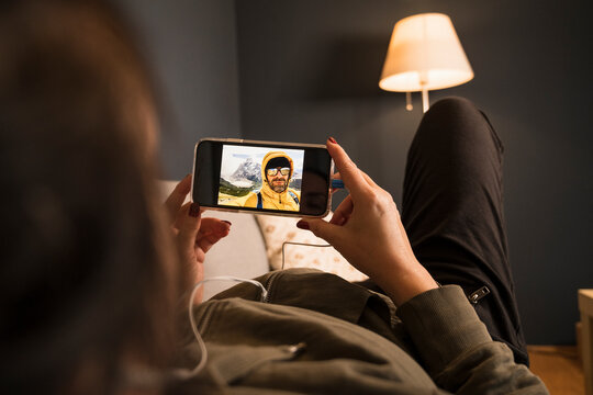 Mature couple on video call through mobile phone