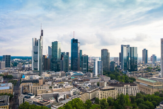 View of the skyline of the financial district in Frankfurt from above