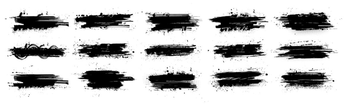Black ink splashes with mud effect. Drops blots isolated set with inked splatter. Dirt stain splatter with spray and splash effect. High quality manually traced. Background texture. Vector collection