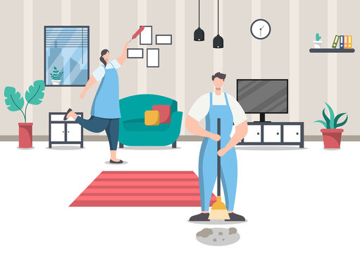 Cleaning Service Concept. Vector Flat Design Cartoon Illustration