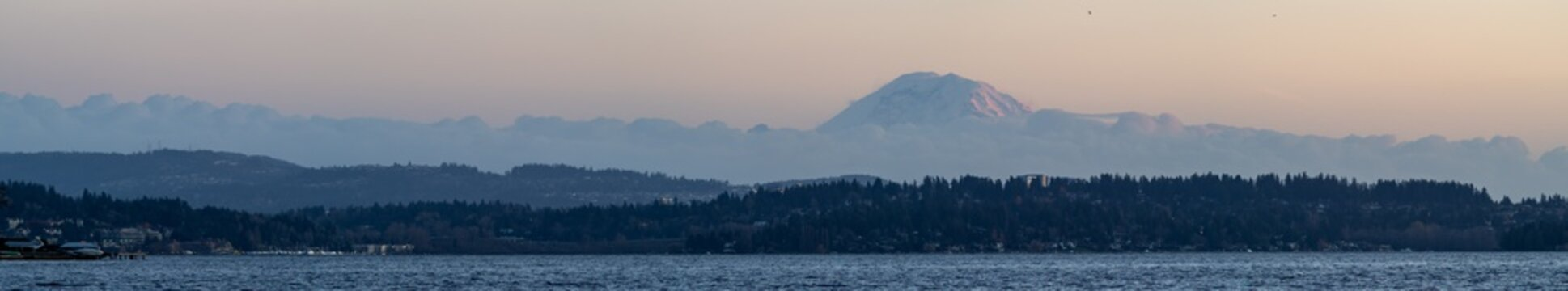 Panorama Featuring Mount Rainier and Lake Washington.
