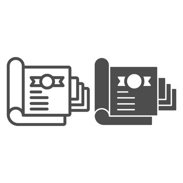 Document for shareholder line and solid icon, startup concept, stock certificate sign on white background, shares icon in outline style for mobile concept and web design. Vector graphics.