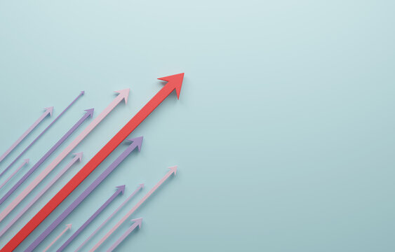 Arrows going up Growth success with copy space. 3d illustration.