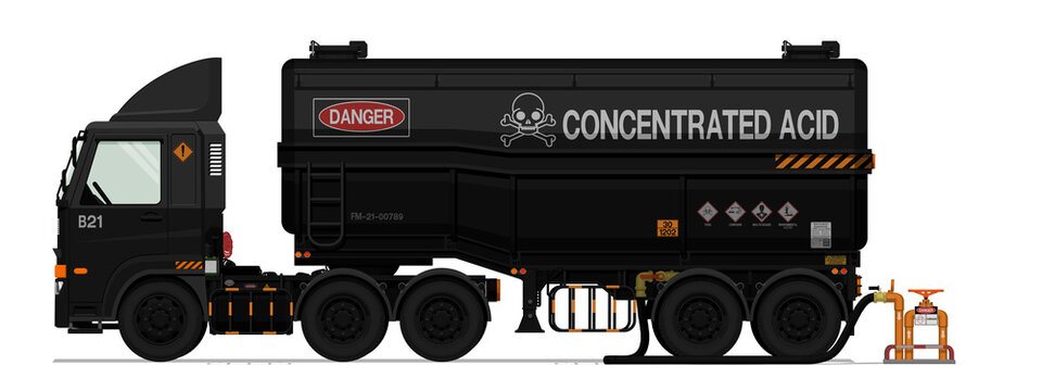 Isolated chemical semi trailer truck with pipe on white background
