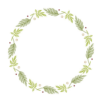 Round floral frame. Green spring wreath. Monogram, wedding invitation or greeting card template.