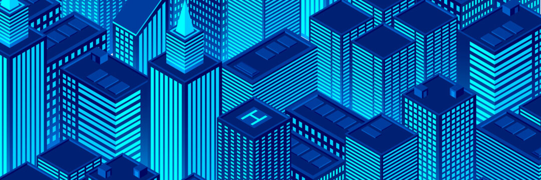 Isometric city buildings. Urban illustration with buildings. Night atmosphere with city buildings. Vector illustration