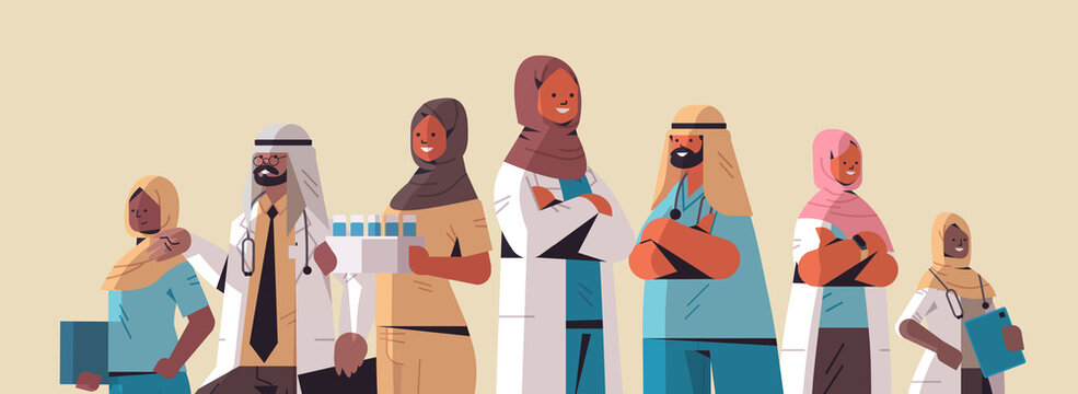 arabic team of medical professionals arab doctors in uniform standing together medicine healthcare concept horizontal portrait vector illustration