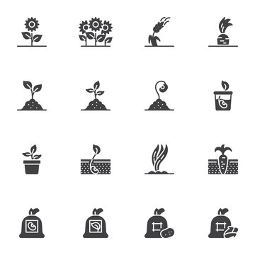 Gardening and agriculture vector icons set, modern solid symbol collection, filled style pictogram pack. Signs, logo illustration. Set includes icons as growing plant, sprout in soil, seed bag, wheat