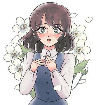 レトロ少女漫画風・赤面して驚くお姉さん・花を背負う