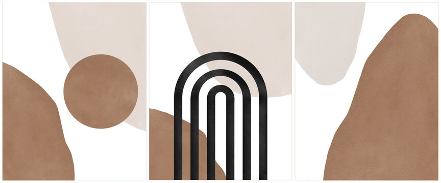 Geometric set of abstract aesthetic watercolour hand drawn contemporary backgrounds, mid century modern art ideas for wall decoration, interior poster design.