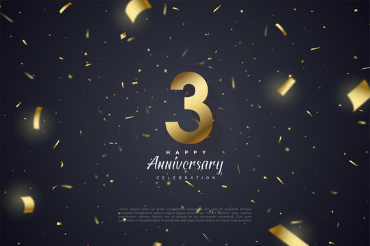 3rd Anniversary with gold foil and numbers illustration spread on the background