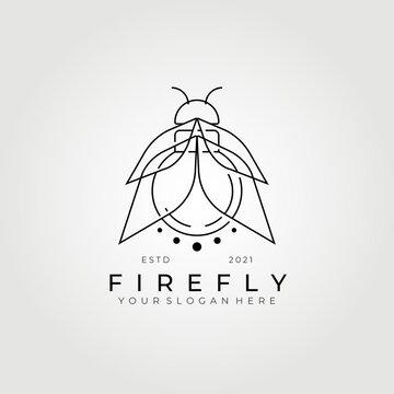 line art firefly logo vector illustration design , best light source logo, creative logo