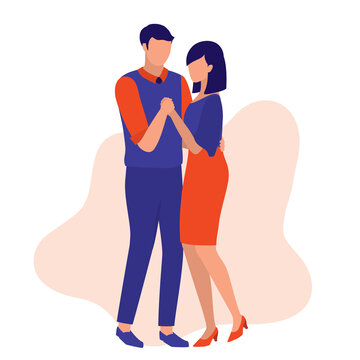 Couple Enjoying A Romantic Slow Dance Together. Couple Dating Concept. Vector Illustration Flat Cartoon. Lovely Couples Hold Each Other's Hands During The Romantic Dance.