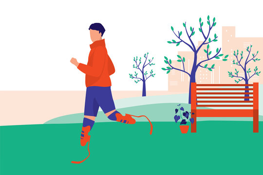 Young Man With Prosthetic Leg Jogging In The Park. Adaptive Technology Concept. Vector Illustration Flat Cartoon. Athlete Man Doing Exercise.
