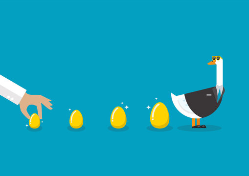 Goose wearing business suit with golden eggs