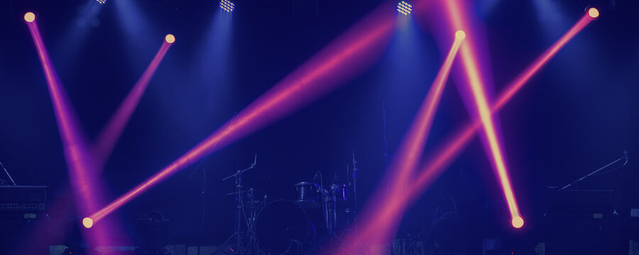 concert colorful stage light performance panorama view for event party background