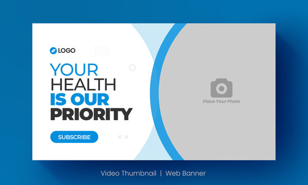 Medical healthcare video thumbnail and editable web banner for hospital live workshop business template. Video cover photo for social media