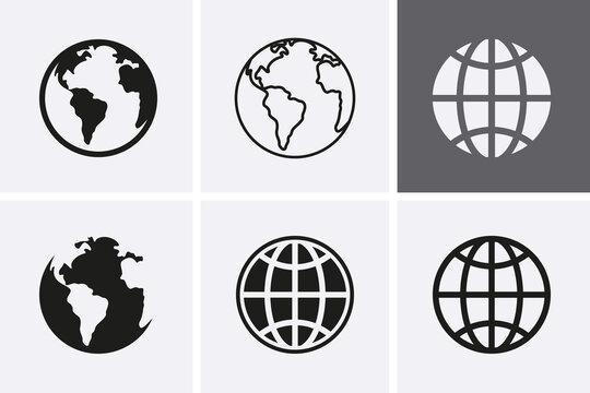 Earth Globe Icons, worldmap.