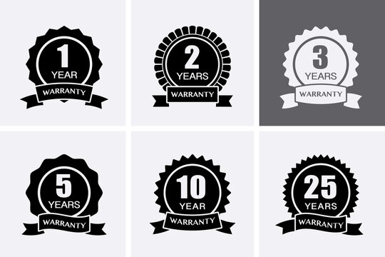 1, 2, 3, 5, 10 and 25 years Warranty Icons. Guarantee Medal.