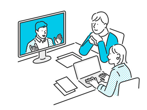 オンラインでミーティングをするビジネスパーソンのイメージイラスト素材