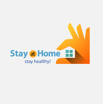 Vector abstract, Stay at home stay healthy