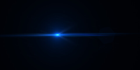 Blue horizontal lens flares pack. Laser beams, horizontal light rays. Beautiful light flares. Glowing streaks on dark background. Luminous abstract sparkling lined background.