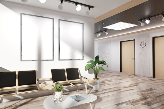 Two vertical frames Mockup hanging in office waiting room. Mock up of billboards in modern concrete interior 3D rendering