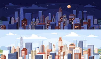 Cityscape at day and night time. City panoramic view with roofs of skyscrapers buildings at midday and midnight. Colored flat vector illustration of daytime and nighttime in modern downtown