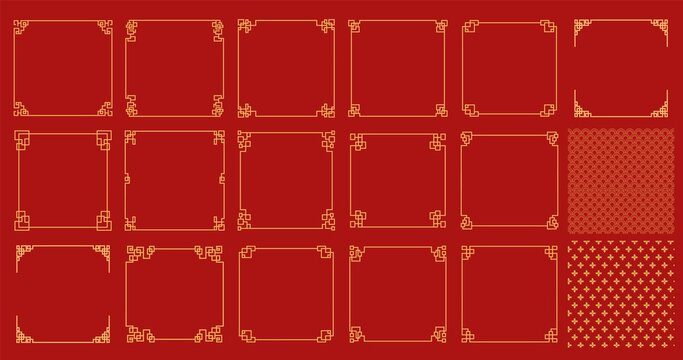 Happy chinese new year 2021, year of the ox . Isolated on red background. frame chinese ornament. ox sign zodiac bundles collection