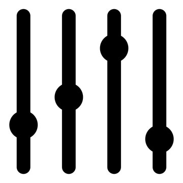 Sliders icon. Slider bar symbol isolated on white. Vector black illustration for sound mixer panel design or equalizer console control element. Eps 10 flat silhouette sign.