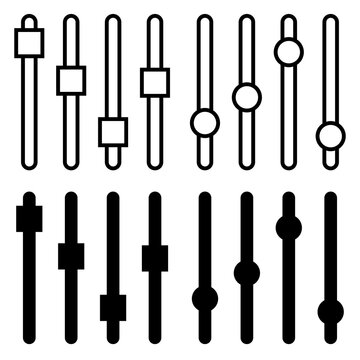 Setting panel or preference slider icon. Vector illustration for alter regulate or adjust mixer volume design. Black silhouette and outline symbol isolated on white.