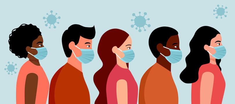 People wearing medical masks to prevent virus and bacteria. Coronavirus Covid-19 outbreak concept vector. People wear masks to avoid flu disease.