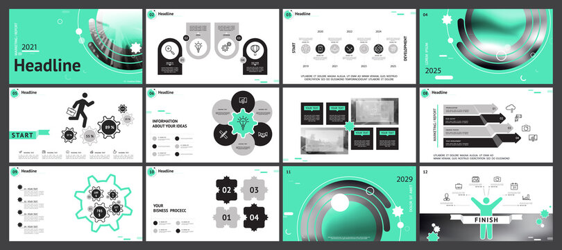Business presentation template, turquoise and black infographic elements on white background. Offices, buildings, city. Vector slide, presentation of business projects and marketing, monitor, computer