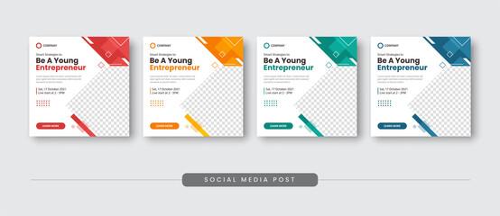 Fototapeta Be a young entrepreneur social media post template