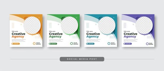 Fototapeta Creative agency social media post template