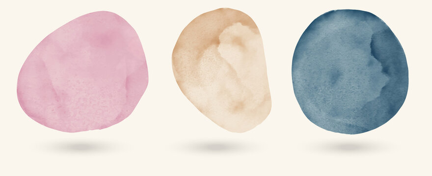 Vector watercolor stains set illustration. Abstract design elements.