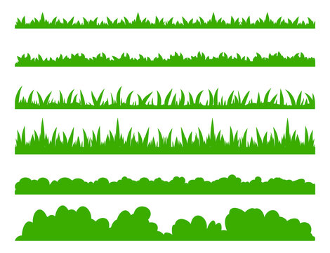Grass set. Simple green lawn border collection. Spring or summer foliage field great for meadow or garden design. Vector flat illustration isolated on white background.