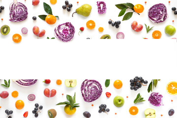 Fototapete - Banner from various vegetables and fruits isolated on white background, top view, creative flat layout. Concept of healthy eating, food background. Frame of vegetables with space for text.