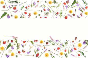 Fototapete - Frame from flowers and berries with place for text, top view. The concept of summer, spring, Mother's Day, March 8.