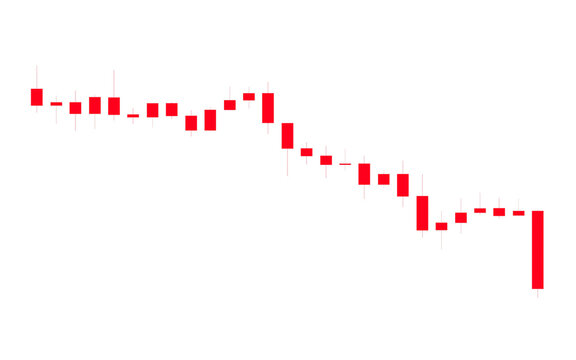 Red candlestick chart one of the tools to trade stocks or cryptocurrency isolated on white background with clipping path.